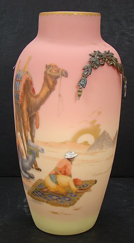 Egyptian Scene on Mount Washington Burmese Vase